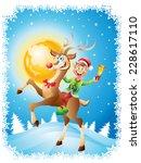 elf riding reindeer with bell... | Shutterstock . vector #228617110