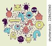 set of hand drawn monster... | Shutterstock .eps vector #228625060