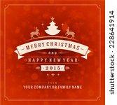christmas greeting card light... | Shutterstock .eps vector #228641914