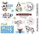milk decorative elements set.... | Shutterstock .eps vector #228668353