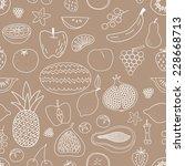 fruit hand drawn vector pattern | Shutterstock .eps vector #228668713