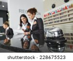 Stock photo modern luxury hotel reception counter desk with bell 228675523