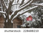 Snow Covered Red Barn Birdhous...