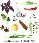 vector set of green stuff ... | Shutterstock .eps vector #228705208