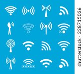 set of white wifi icons on blue ... | Shutterstock .eps vector #228715036