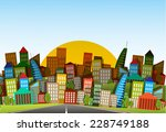 illustration long road in city... | Shutterstock .eps vector #228749188