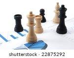 Small photo of chess man over business chart admonish to strategic behavior