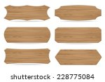 set of 6 shapes wooden sign... | Shutterstock .eps vector #228775084