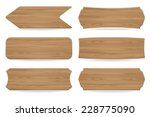 set of 6 shapes wooden sign... | Shutterstock .eps vector #228775090