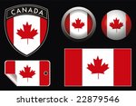 vector canada crest flag with... | Shutterstock .eps vector #22879546