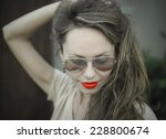 monochrome portrait of young...   Shutterstock . vector #228800674