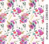 pattern  watercolor  bouquet | Shutterstock .eps vector #228813403
