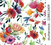 Stock vector pattern watercolor flowers 228813409