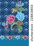 batik pattern on blue...   Shutterstock .eps vector #228818833