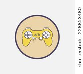 yellow gamepad vector round...