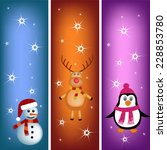 cute penguin  reindeer and... | Shutterstock .eps vector #228853780