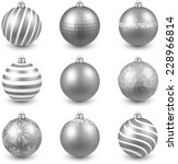 Silver Christmas Balls On Whit...