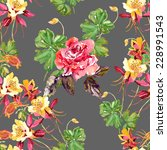 columbine and red rose | Shutterstock . vector #228991543