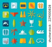 set of summer tourism icons | Shutterstock . vector #229000828
