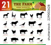 Stock vector twenty one farm animal silhouettes 229002628