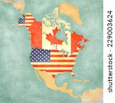 us and canada on the outline... | Shutterstock . vector #229003624
