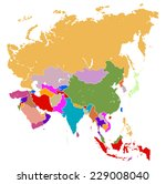 vector map of asia  | Shutterstock .eps vector #229008040