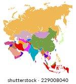 vector map of asia  | Shutterstock .eps vector #229008040