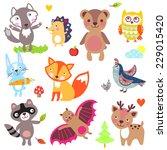 forest animals set. wolf ... | Shutterstock .eps vector #229015420