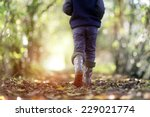 boy walking on country footpath ... | Shutterstock . vector #229021774