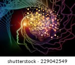 Stock photo human mind series creative arrangement of brain human outlines and fractal elements to act as 229042549