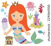 mermaid vector illustration | Shutterstock .eps vector #229064500