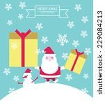 santa claus   snowman.... | Shutterstock .eps vector #229084213