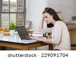 harassed young woman working on ... | Shutterstock . vector #229091704