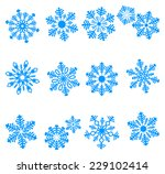 blue icons of snowflake. vector ... | Shutterstock .eps vector #229102414