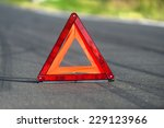 red triangle of a car on the... | Shutterstock . vector #229123966