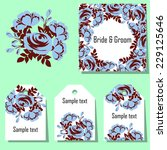 set of invitations with floral... | Shutterstock .eps vector #229125646