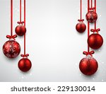 set of red christmas balls... | Shutterstock .eps vector #229130014