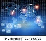 world map on an abstract... | Shutterstock . vector #229133728