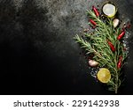bunch of spices on dark vintage ... | Shutterstock . vector #229142938