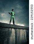 Green Confident Superhero...