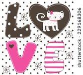 Stock vector cute love cat card vector illustration 229168306