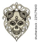 skull jewelry. hand drawing and ... | Shutterstock . vector #229179643