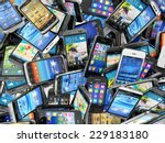 mobile phones background. pile... | Shutterstock . vector #229183180