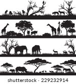 Stock vector four panels of african silhouettes with african wild animals in different habitats 229232914