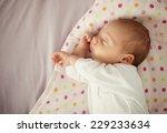 cute newborn baby girl sleeping ... | Shutterstock . vector #229233634