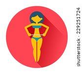 girl measures a waist icon | Shutterstock .eps vector #229251724