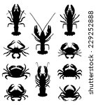 Silhouettes Of Crabs  Vector...