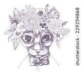 sfinks cat portrait with floral ... | Shutterstock .eps vector #229254868