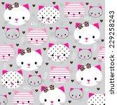 cute kitty head with heart... | Shutterstock .eps vector #229258243