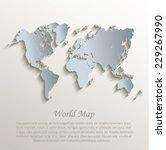 world map white blue card paper ... | Shutterstock .eps vector #229267990